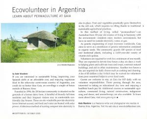 A clipping of Ande Wanderer's article on the permaculture community of Gaia in the province of Buenos Aires. Transitions Abroad