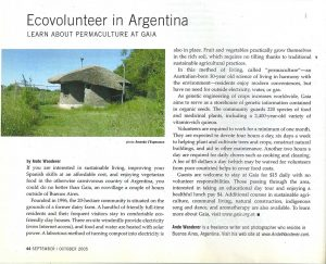Ande Wanderer's article on the permaculture community of Gaia in the province of Buenos Aires. Transitions Abroad, 2005
