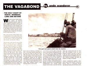 A clipping of Ande Wanderer's Vagabond column from Go-Go magazine about the coastal area of Kenya