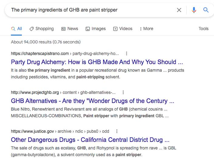Google search results for 'GHB 's primary ingredient is paint stripper'