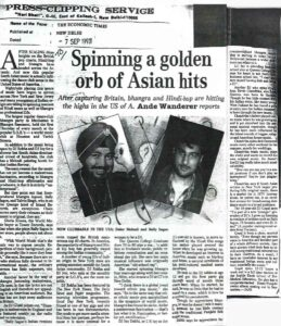 Bhangra and Hindi Hop Press Clipping from the Economic Times