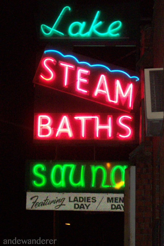 Lake Steam baths sauna -- neon sign