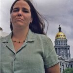 Activist Laura Kriho in front of Colorado's state capital building