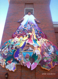 A Leo Tanguma mural on North Presbyterian Church in North Denver