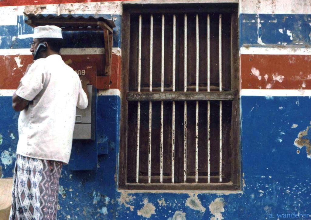 A man on the phone in Mombasa, Kenya