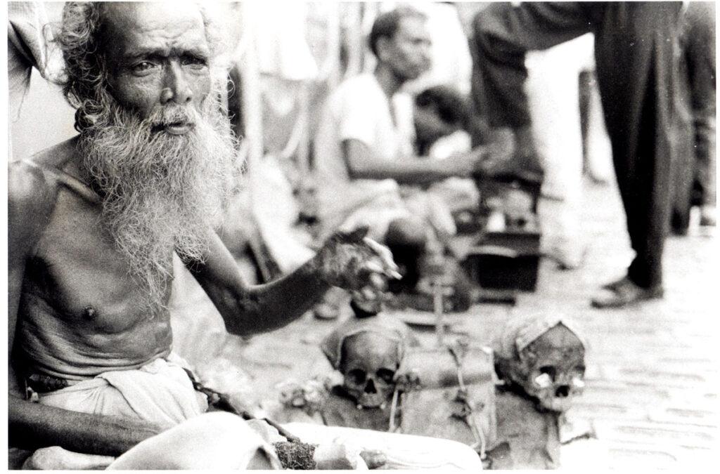Aghori baba with human skulls in Kolkata